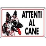 CARTELLI ATTENTI AL CANE ALLUMINIO 18X12